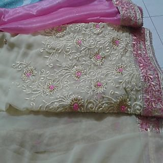 Pink Shimmer and Georgette, embroidery saree