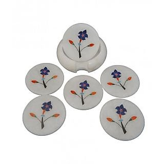 White Marble Tea Coster Flower Painted 5 Inch