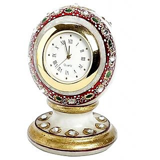 White Marble Table Clock Home Decorative And Gift Item 4 Inch