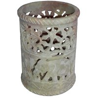 Shopstone Flower And Elephant Carved Tea Light Holder Pen Stand 3 To 4 Inch
