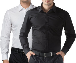 You Forever Black and White Combo of 2 Cotton shirts