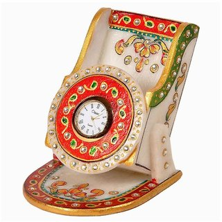White Marble Table Clock Home Decorative And Showpeace Item