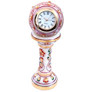 White Marble Flower Painted Piller Clock Home Decorative And Gift Item 6 Inch