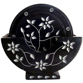 Black Marble Flower Carved Tea Coster Showpeace Item
