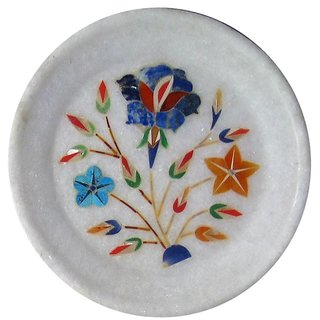 White Marble Flower Meenakari Plate Home Decorative And Gift Item