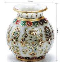 White Marble Flower Meenakari Flower Kalash Home Decorative And Gift Item 5 Inch
