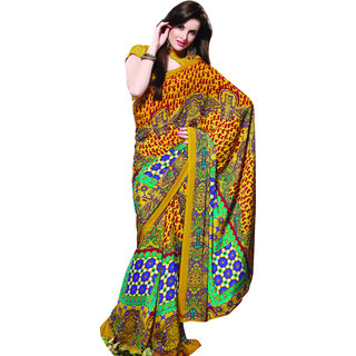 Prafful Yellow Crepe Printed Saree With Blouse