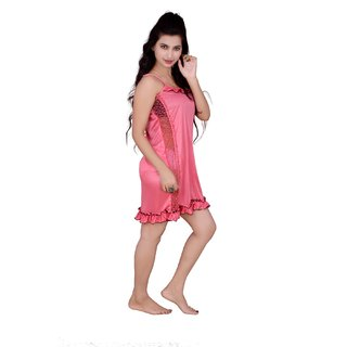 Kismat Fashion Pink Short Nighty With Side Lace Work An05