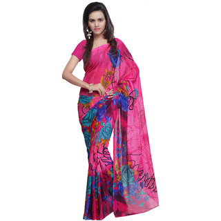 Prafful Pink Georgette Printed Saree With Blouse