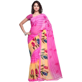 Prafful Pink Georgette Printed Saree With Blouse