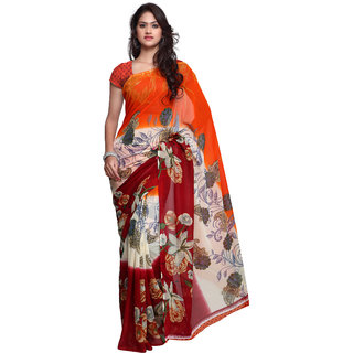 Prafful Orange Georgette Printed Saree With Blouse
