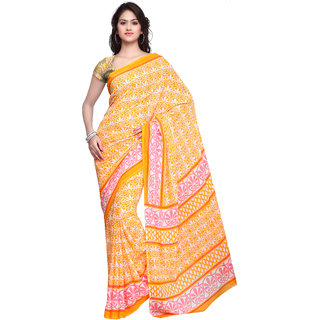 Prafful Orange Crepe Printed Casual Wear Saree