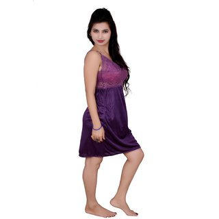 Kismat Fashion Purple Satin Net Nighty Kn08
