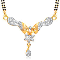 Meenaz Mangalsutra Gold Plated Cz In American Diamond For Girls  Women MS849