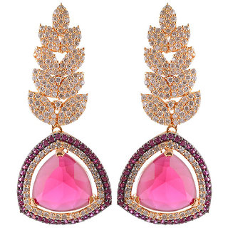 Trendy earrings with pink stone