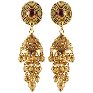 Heavy look golden triple jhumka earrings