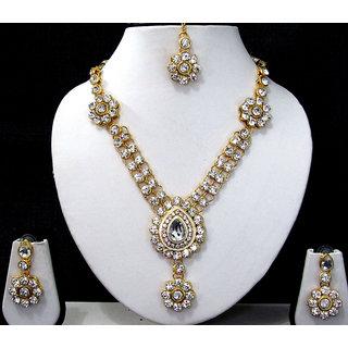 White nice flower stone necklace set