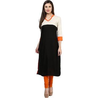 Rangeelo Rajasthan Womens Solid Straight Rayon kurti-RAR148BLACK