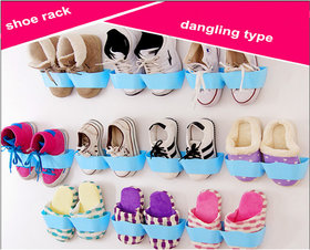 Blue Shoes Shelf Stick On The Wall For Footwear Collection 10 Pieces - STKW10B0