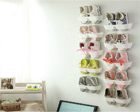 White Shoes Shelf Stick On The Wall For Footwear Collection 10 Pieces - STKW10W0