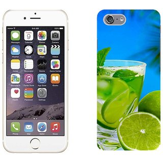 Apple iPhone 6 Design Back Cover Case - Black Lime Cocktail Mint Glass