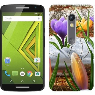 Motorola MOTO X Play Design Back Cover Case - Black Snowdrops Drawing Flowers Plants
