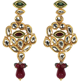 Meher Collection Earrings Dangling Multicolour with Red and Green colour Stones and Polki Cubic Zirconia