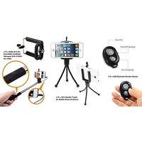 Combo 3 in1 Selfie Stick Aux Monopod +Mini Camera Tripod Stand +Bluetooth Remote