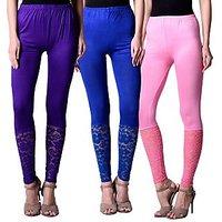NumBrave Purple,Blue,Pink Viscose Net Legging (Combo of 3)