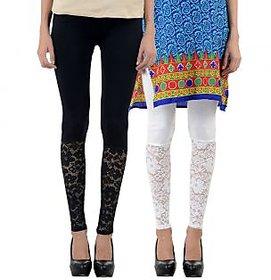 NumBrave Black,White Viscose Net Legging (Combo of 2)