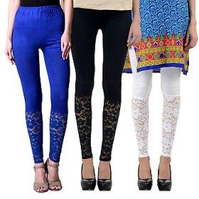 NumBrave Blue,Black,White Viscose Net Legging (Combo of 3)