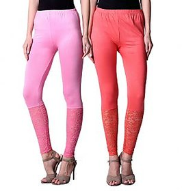 NumBrave Pink,Peach Viscose Net Legging (Combo of 2)