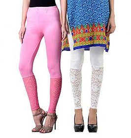 NumBrave Pink,White Viscose Net Legging (Combo of 2)