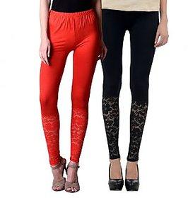 NumBrave Red,Black Viscose Net Legging (Combo of 2)