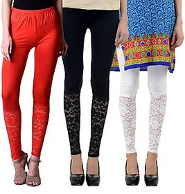 NumBrave Red,Black,White Viscose Net Legging (Combo of 3)
