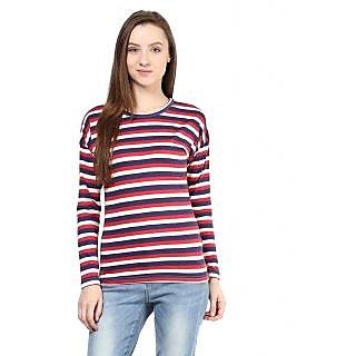 Hypernation Stripe Round Neck Red Blue With Mix White Cotton Tshirt