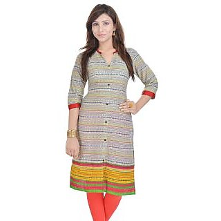 Rangeelo Rajasthan Womens Printed Straight Cotton kurti-RAR140RED