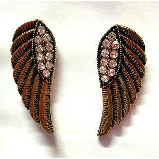 Golden leaf earrings with diamonds.