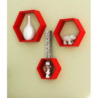 Desi Karigar Wooden Wall Shelf Rack Set Of 3 Red Hexagon Shape