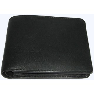 Black Pure Leather Single Fold Wallet For Men