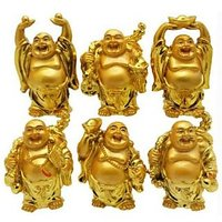 Laughing Buddha In Different Positions (Set Of 6)