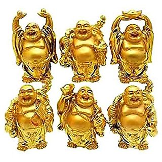 FENGSHUI SET OF 6 PCS LAUGHING BUDDHA By UBB