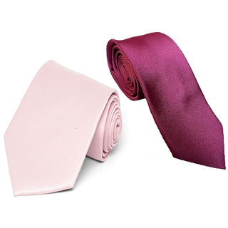 9113225d4079 Buy Wholesome Deal Maroon And Pink Colour Microfiber Narrow Tie (Pack of  Two) Online - Get 62% Off