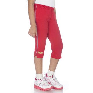 OCEAN RACE -Womens Stylish Red Cotton Capri-3/4 Th pant