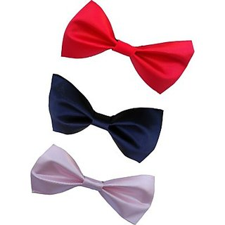Wholesome Deal Red navy Blue And Pink Colour Neck Bow Tie (Pack of Three)