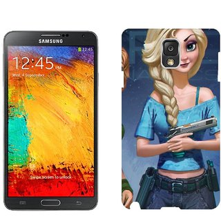 Samsung Note3 N9006 Design Back Cover Case - Black Frozen Anna Elsa Snow Queen Olaf Disney