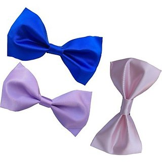 eadec383fd85 Buy Wholesome Deal Pink Light purple And Royal Blue Colour Neck Bow Tie  (Pack of Three) Online - Get 79% Off