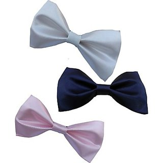 Wholesome Deal Navy Blue Pink And White Colour Neck Bow Tie (Pack of Three)