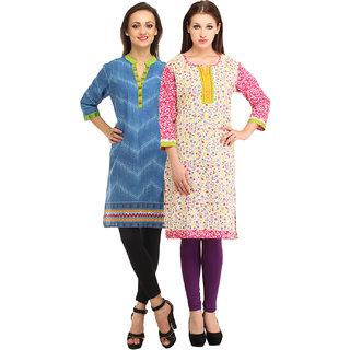 Enakshi Set of 2 Blue Cotton Printed Kurti