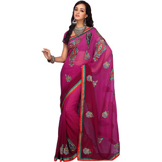 Prafful Pink Georgette Embroidered Festive Wear Saree